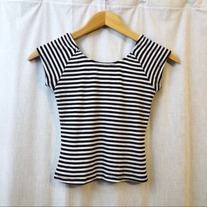 Ardene Black and White Striped Babydoll Tee